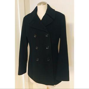 Black Calvin Klein Cashmere Wool Pea Coat Jacket